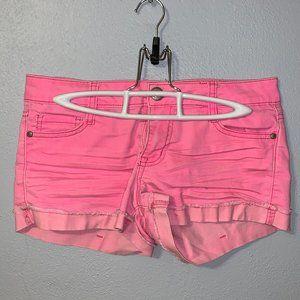 Bright pink lei denim shorts